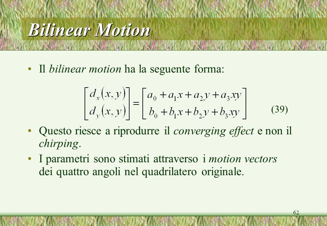 62 Bilinear Motion Il bilinear motion ha la seguente forma: Questo riesce a riprodurre il converging effect e non il chirping.