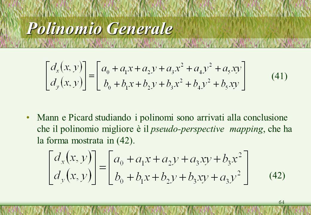 64 Polinomio Generale Mann e Picard studiando i polinomi sono arrivati alla conclusione che il polinomio migliore è il pseudo-perspective mapping, che ha la forma mostrata in (42).