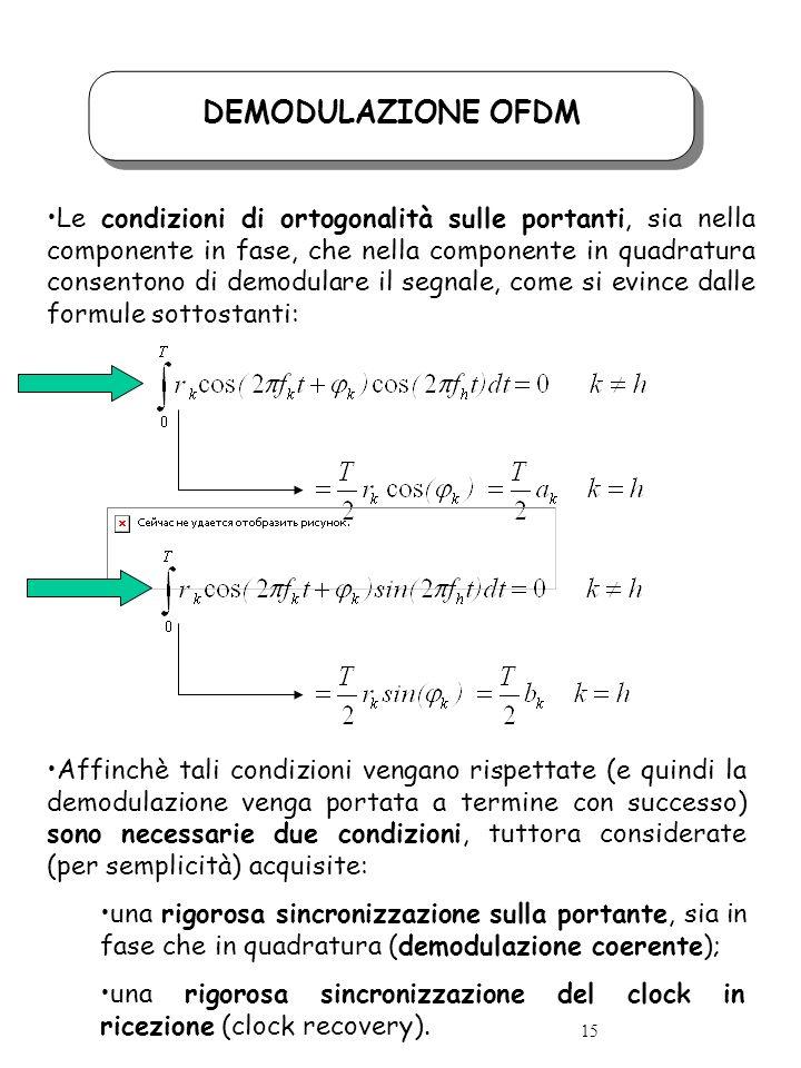 DEMODULAZIONE OFDM Le condizioni di ortogonalità sulle portanti, sia nella componente in fase, che nella componente in quadratura consentono di demodulare il segnale, come si evince dalle formule sottostanti: Affinchè tali condizioni vengano rispettate (e quindi la demodulazione venga portata a termine con successo) sono necessarie due condizioni, tuttora considerate (per semplicità) acquisite: una rigorosa sincronizzazione sulla portante, sia in fase che in quadratura (demodulazione coerente); una rigorosa sincronizzazione del clock in ricezione (clock recovery).