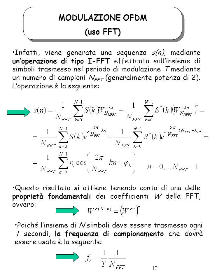 MODULAZIONE OFDM (uso FFT) Infatti, viene generata una sequenza s(n), mediante unoperazione di tipo I-FFT effettuata sullinsieme di simboli trasmesso nel periodo di modulazione T mediante un numero di campioni N FFT (generalmente potenza di 2).
