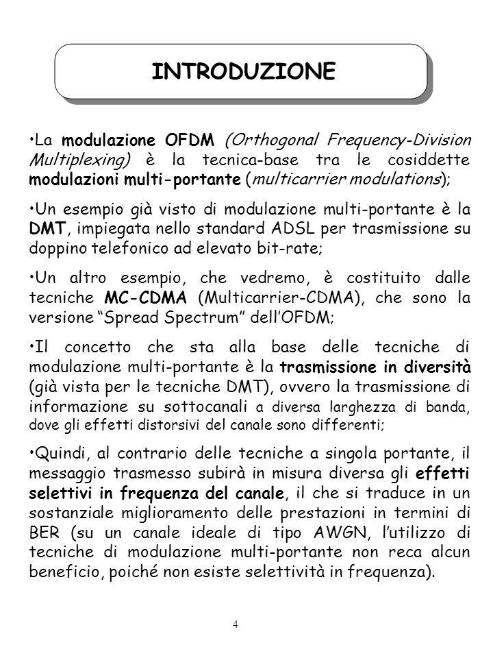 INTRODUZIONE La modulazione OFDM (Orthogonal Frequency-Division Multiplexing) è la tecnica-base tra le cosiddette modulazioni multi-portante (multicarrier modulations); Un esempio già visto di modulazione multi-portante è la DMT, impiegata nello standard ADSL per trasmissione su doppino telefonico ad elevato bit-rate; Un altro esempio, che vedremo, è costituito dalle tecniche MC-CDMA (Multicarrier-CDMA), che sono la versione Spread Spectrum dellOFDM; Il concetto che sta alla base delle tecniche di modulazione multi-portante è la trasmissione in diversità (già vista per le tecniche DMT), ovvero la trasmissione di informazione su sottocanali a diversa larghezza di banda, dove gli effetti distorsivi del canale sono differenti; Quindi, al contrario delle tecniche a singola portante, il messaggio trasmesso subirà in misura diversa gli effetti selettivi in frequenza del canale, il che si traduce in un sostanziale miglioramento delle prestazioni in termini di BER (su un canale ideale di tipo AWGN, lutilizzo di tecniche di modulazione multi-portante non reca alcun beneficio, poiché non esiste selettività in frequenza).