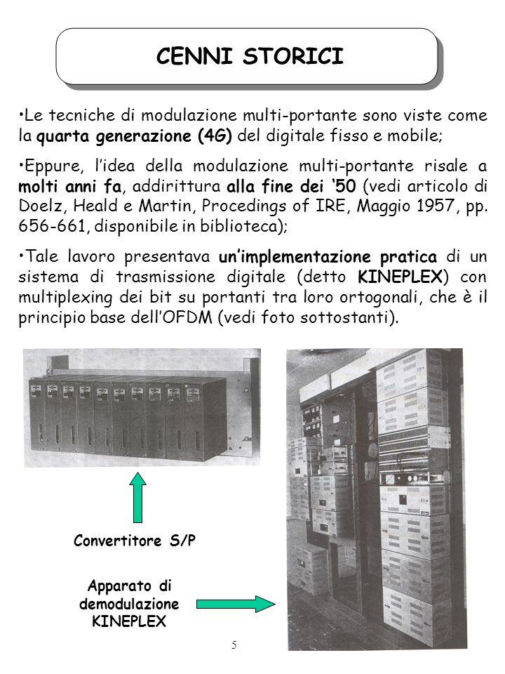 CENNI STORICI Il problema principale del kineplex risiedeva nel fatto che limplementazione del multiplexing in frequenza era effettuato con hardware puramente analogico (oscillatori a risonanza di tipo RLC), da qui le dimensioni ragguardevoli dellapparato; Il salto di qualità teorico, che ha aperto la strada allimplementazione pratica di un sistema OFDM è stato indicato da B.