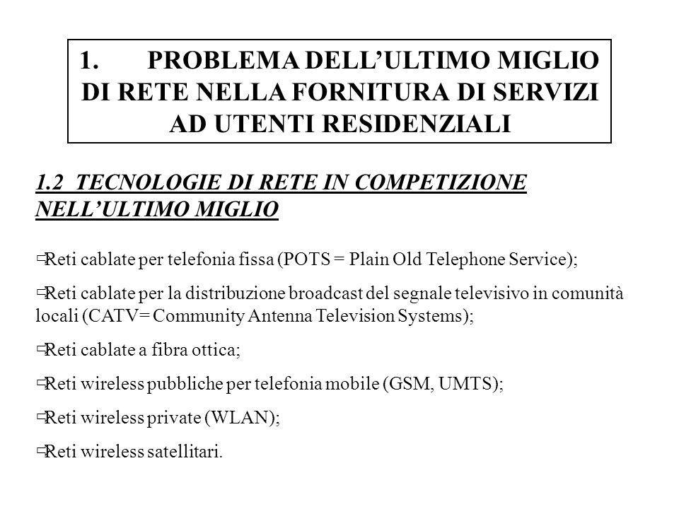 4.TECNOLOGIE DI TRASMISSIONE-DATI SU RETI PER TELEFONIA FISSA 4.8 PANORAMICA GENERALE DELLE TECNOLOGIE ADSL E x-DSL
