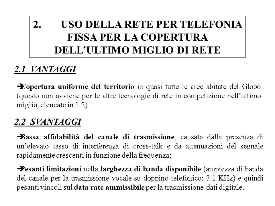 4.TECNOLOGIE DI TRASMISSIONE-DATI SU RETI PER TELEFONIA FISSA 4.17 x-DSL e VDSL HDSL è un servizio a rate simmetrico (full-duplex) a 1.544 Mb/s (su due doppini) o 2.048 Mb/s (su tre doppini).