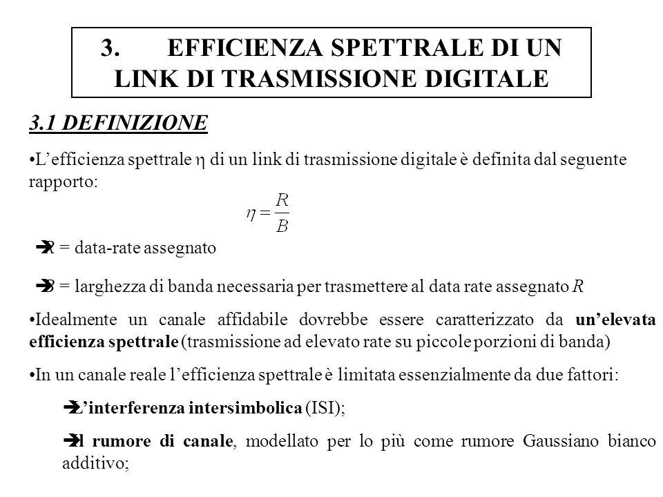 4.TECNOLOGIE DI TRASMISSIONE-DATI SU RETI PER TELEFONIA FISSA 4.2.1 MODEM FUNZIONANTI SULLA BANDA DEL SEGNALE VOCALE: NOTE TECNICHE SUI MODEM V.21 I primi modem (V.21) effettuavano trasmissione binaria con modulazione Frequency Shift Keying (FSK); La modulazione M-FSK richiede M portanti sinusoidali, le cui frequenze vengono settate sulla base del valore del livello (vedi [3]); Nel caso di trasmissione binaria, sono necessarie due portanti: una per il livello 0 ed una per il livello 1; La modulazione FSK binaria è molto robusta nei confronti del rumore e di facile implementazione, ma la sua efficienza spettrale è addirittura minore di 1 (è una modulazione a larga banda).
