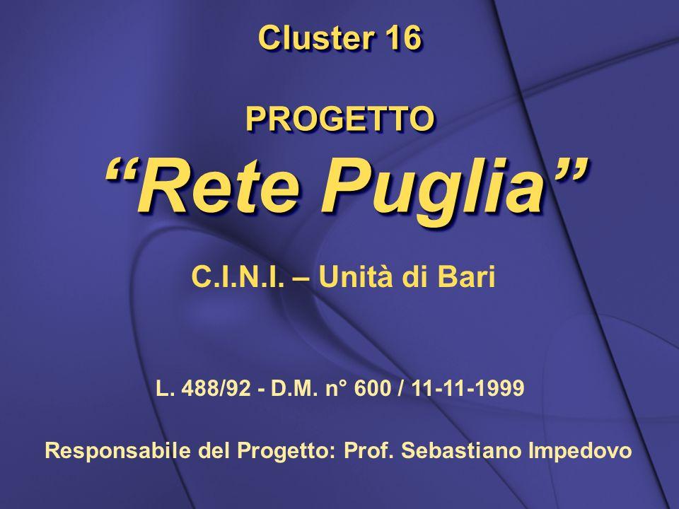Cluster 16 PROGETTO Rete Puglia Cluster 16 PROGETTO Rete Puglia C.I.N.I. – Unità di Bari L. 488/92 - D.M. n° 600 / 11-11-1999 Responsabile del Progett