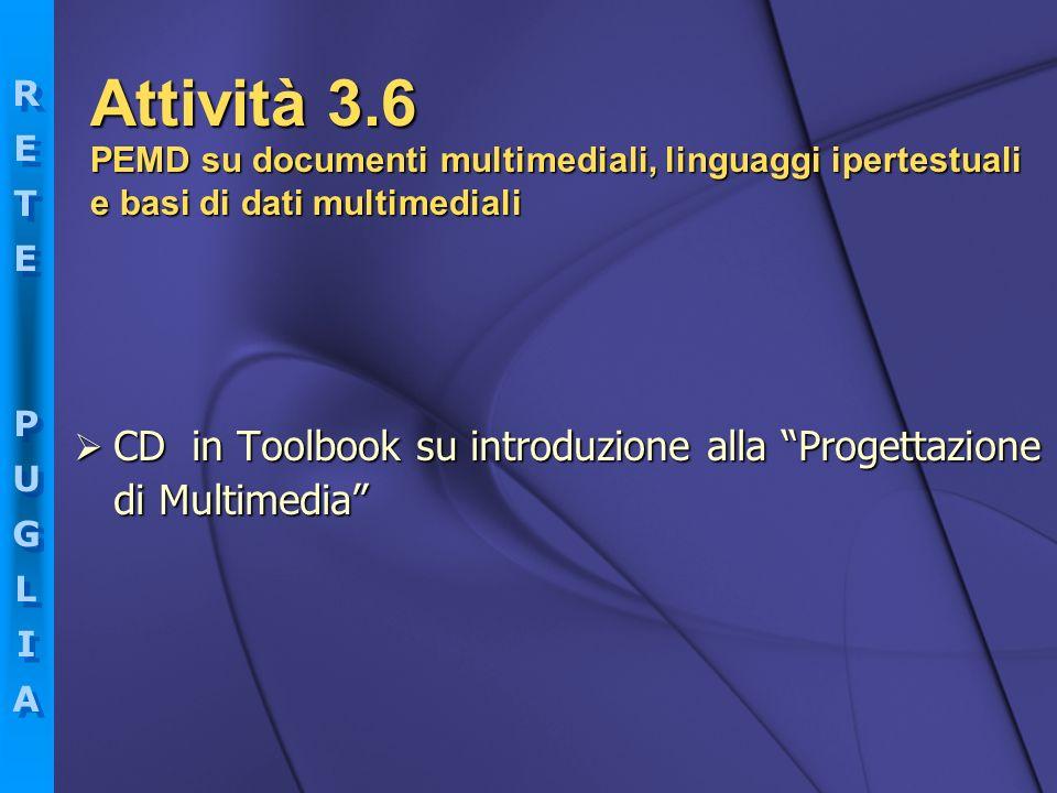 RETEPUGLIARETEPUGLIA RETEPUGLIARETEPUGLIA CD in Toolbook su introduzione alla Progettazione di Multimedia CD in Toolbook su introduzione alla Progetta