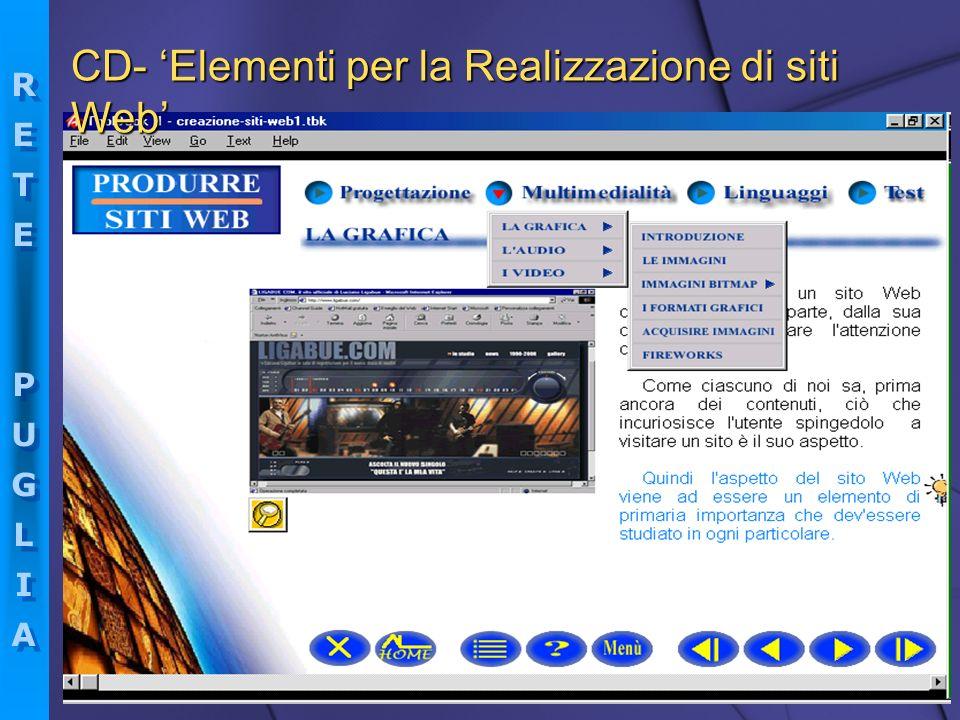 RETEPUGLIARETEPUGLIA RETEPUGLIARETEPUGLIA CD- Elementi per la Realizzazione di siti Web