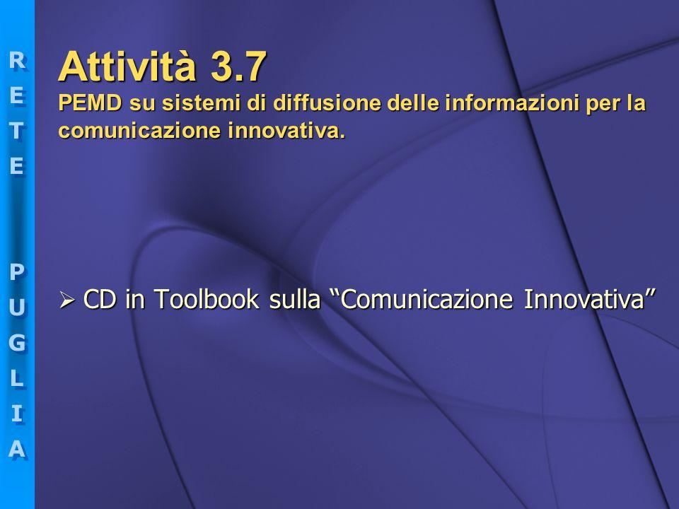 RETEPUGLIARETEPUGLIA RETEPUGLIARETEPUGLIA CD in Toolbook sulla Comunicazione Innovativa CD in Toolbook sulla Comunicazione Innovativa PEMD su sistemi
