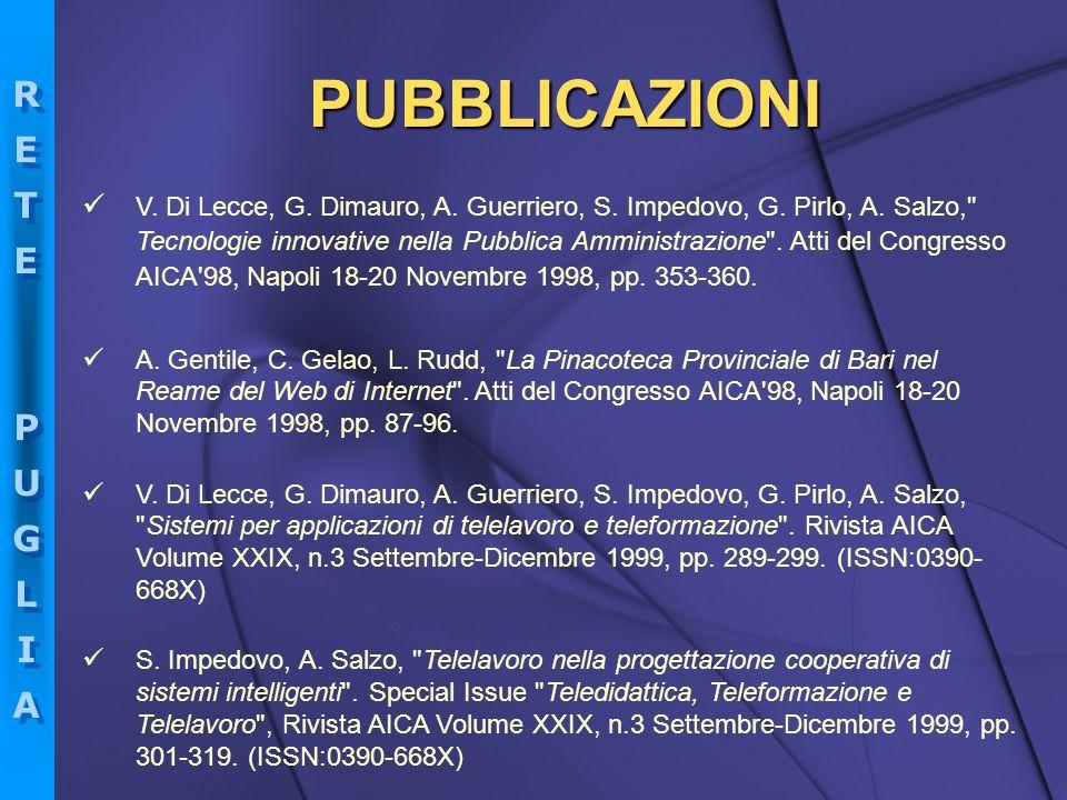 RETEPUGLIARETEPUGLIA RETEPUGLIARETEPUGLIA V. Di Lecce, G. Dimauro, A. Guerriero, S. Impedovo, G. Pirlo, A. Salzo,