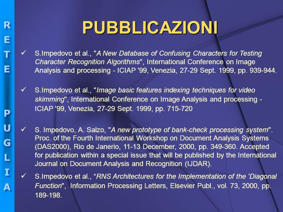 RETEPUGLIARETEPUGLIA RETEPUGLIARETEPUGLIA PUBBLICAZIONI S.Impedovo et al.,