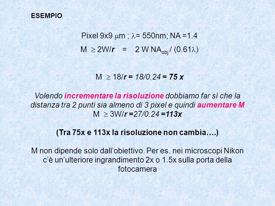 ESEMPIO Pixel 9x9 m ; = 550nm; NA =1.4 M 2W/r = 2 W NA obj / (0.61 ) M 18/r = 18/0.24 = 75 x Volendo incrementare la risoluzione dobbiamo far sì che l