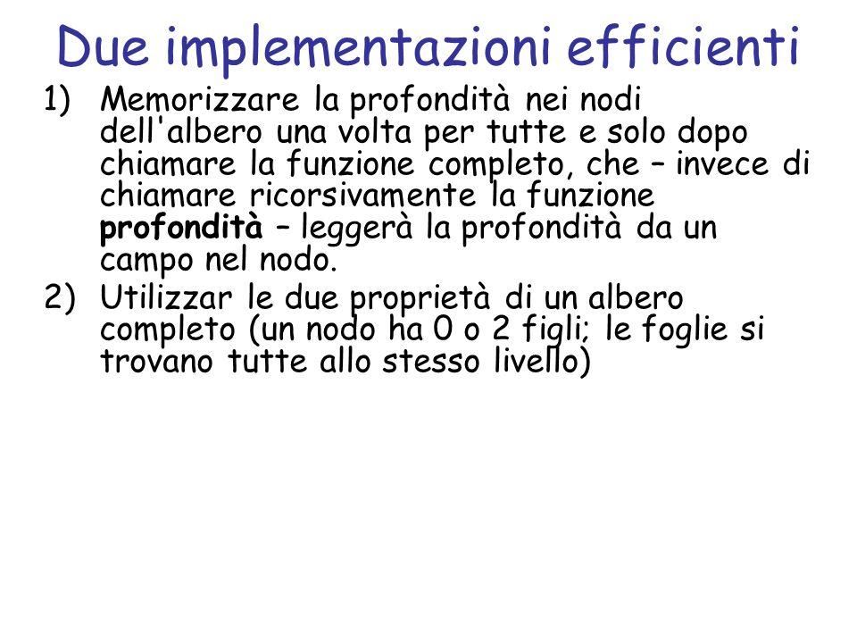 Due implementazioni efficienti 1)Memorizzare la profondità nei nodi dell'albero una volta per tutte e solo dopo chiamare la funzione completo, che – i