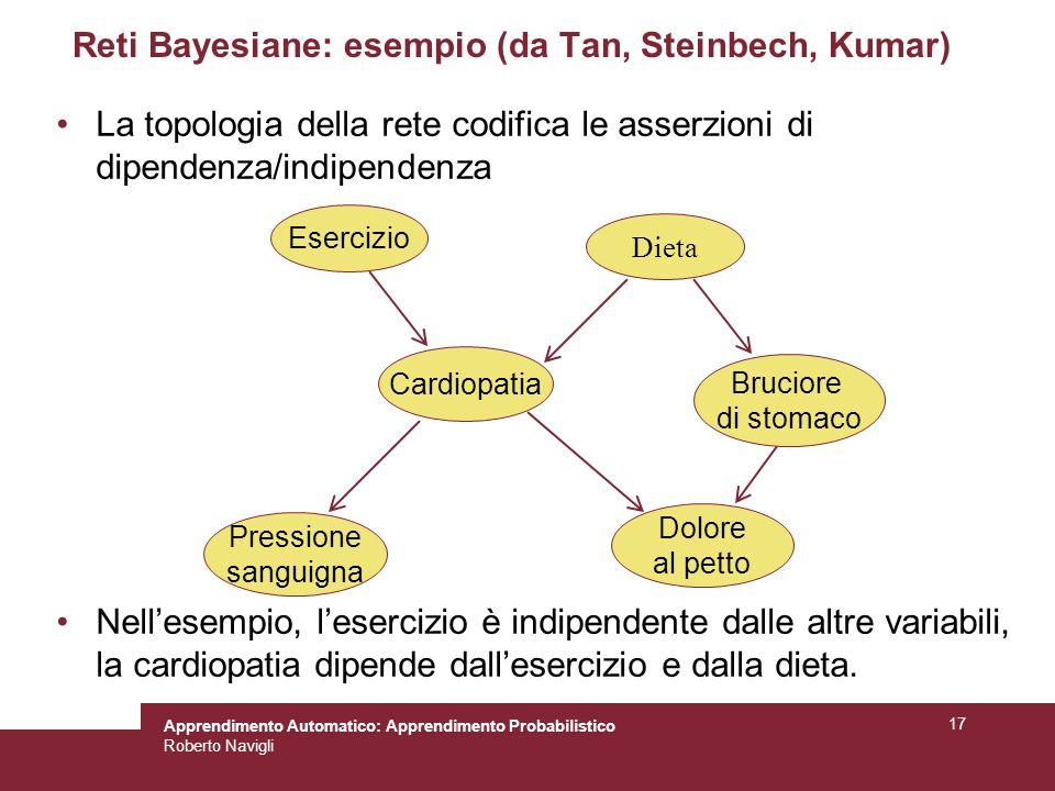 Apprendimento Automatico: Apprendimento Probabilistico Roberto Navigli 17 Reti Bayesiane: esempio (da Tan, Steinbech, Kumar) La topologia della rete codifica le asserzioni di dipendenza/indipendenza Nellesempio, lesercizio è indipendente dalle altre variabili, la cardiopatia dipende dallesercizio e dalla dieta.