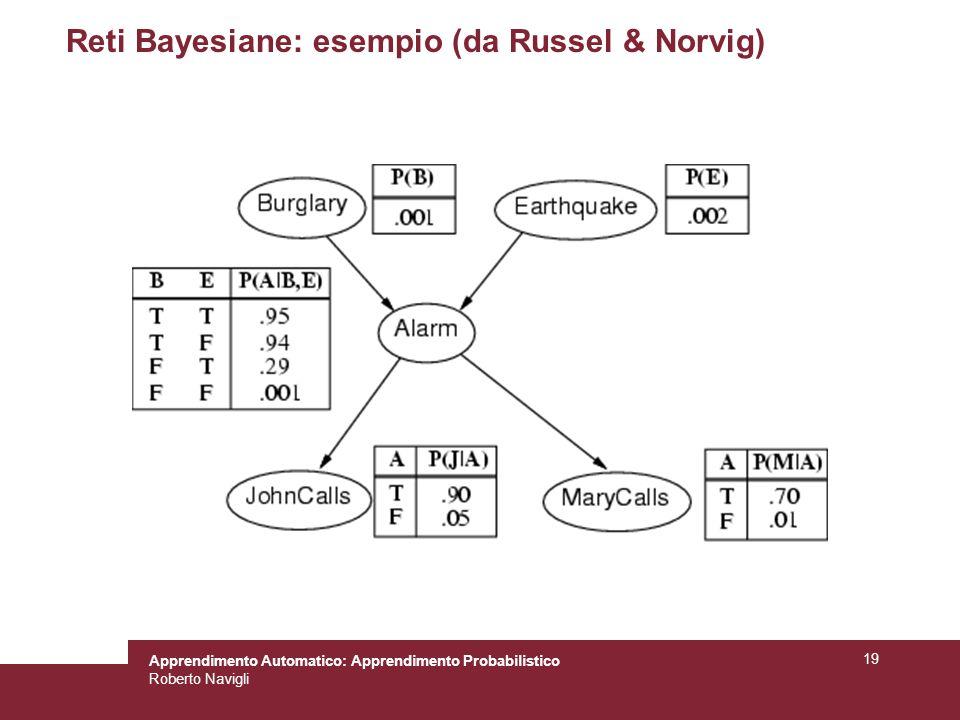 Apprendimento Automatico: Apprendimento Probabilistico Roberto Navigli 19 Reti Bayesiane: esempio (da Russel & Norvig)