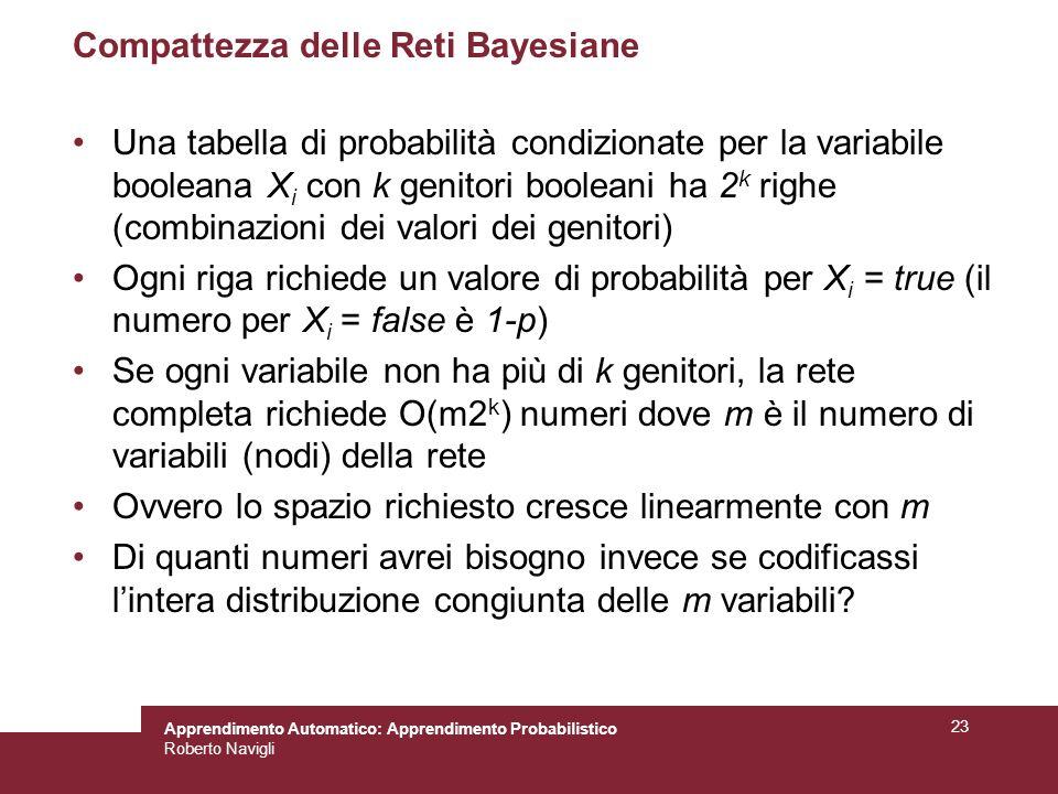 Apprendimento Automatico: Apprendimento Probabilistico Roberto Navigli 23 Compattezza delle Reti Bayesiane Una tabella di probabilità condizionate per la variabile booleana X i con k genitori booleani ha 2 k righe (combinazioni dei valori dei genitori) Ogni riga richiede un valore di probabilità per X i = true (il numero per X i = false è 1-p) Se ogni variabile non ha più di k genitori, la rete completa richiede O(m2 k ) numeri dove m è il numero di variabili (nodi) della rete Ovvero lo spazio richiesto cresce linearmente con m Di quanti numeri avrei bisogno invece se codificassi lintera distribuzione congiunta delle m variabili?