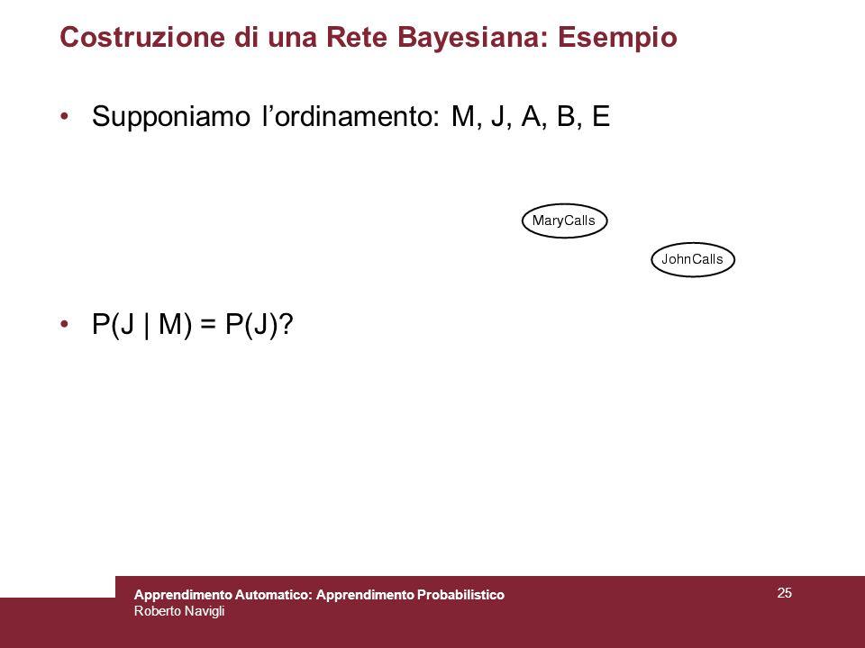 Apprendimento Automatico: Apprendimento Probabilistico Roberto Navigli 25 Costruzione di una Rete Bayesiana: Esempio Supponiamo lordinamento: M, J, A, B, E P(J | M) = P(J)?