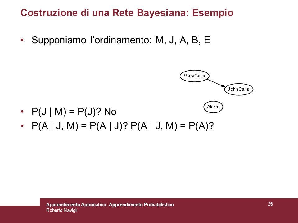 Apprendimento Automatico: Apprendimento Probabilistico Roberto Navigli 26 Costruzione di una Rete Bayesiana: Esempio Supponiamo lordinamento: M, J, A, B, E P(J | M) = P(J).