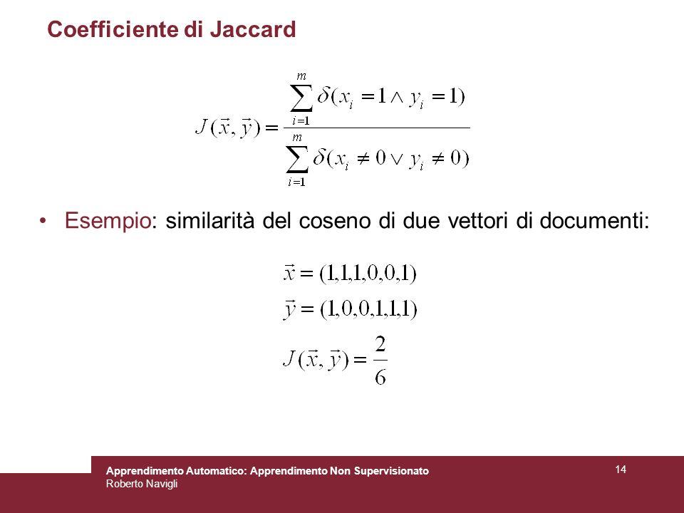 Apprendimento Automatico: Apprendimento Non Supervisionato Roberto Navigli 14 Coefficiente di Jaccard Esempio: similarità del coseno di due vettori di documenti: