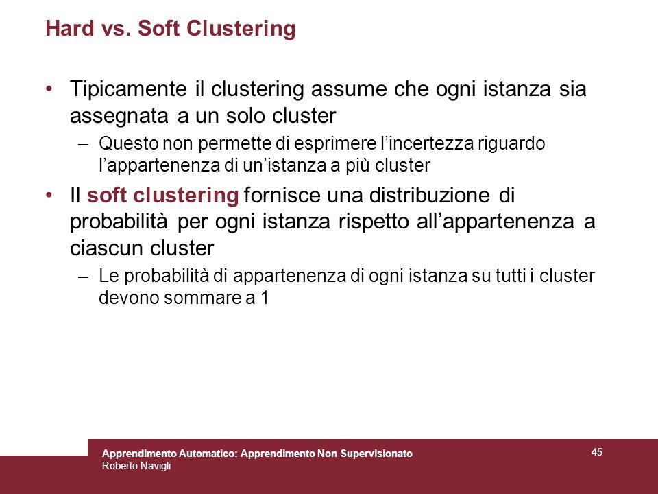 Apprendimento Automatico: Apprendimento Non Supervisionato Roberto Navigli 45 Hard vs.
