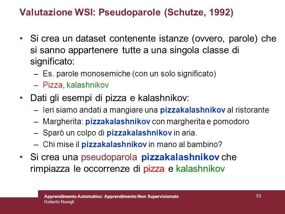 Apprendimento Automatico: Apprendimento Non Supervisionato Roberto Navigli 53 Valutazione WSI: Pseudoparole (Schutze, 1992) Si crea un dataset contenente istanze (ovvero, parole) che si sanno appartenere tutte a una singola classe di significato: –Es.