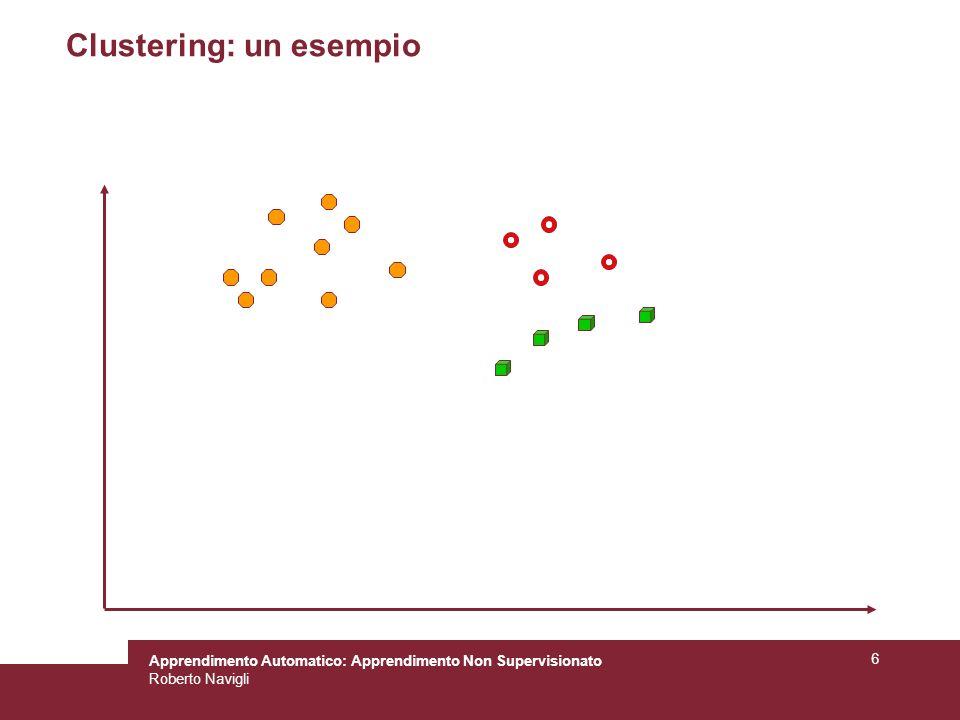 Apprendimento Automatico: Apprendimento Non Supervisionato Roberto Navigli 6 Clustering: un esempio