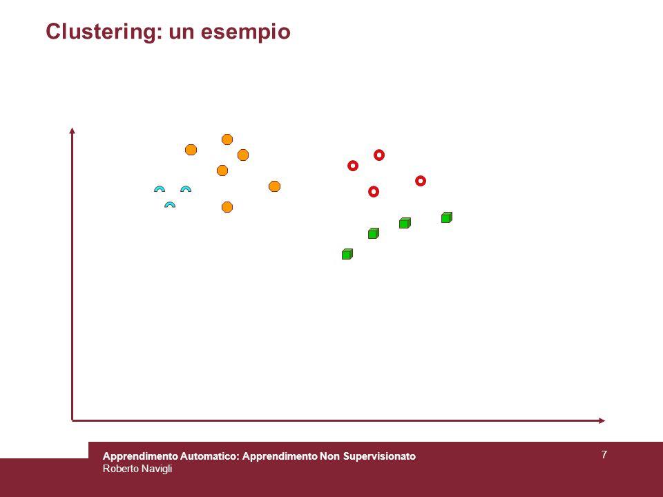 Apprendimento Automatico: Apprendimento Non Supervisionato Roberto Navigli 7 Clustering: un esempio
