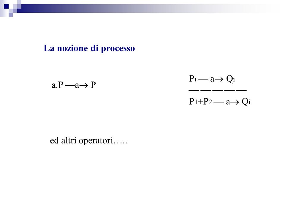 La nozione di processo a.P a P P i a Q i P 1 +P 2 a Q i ed altri operatori…..