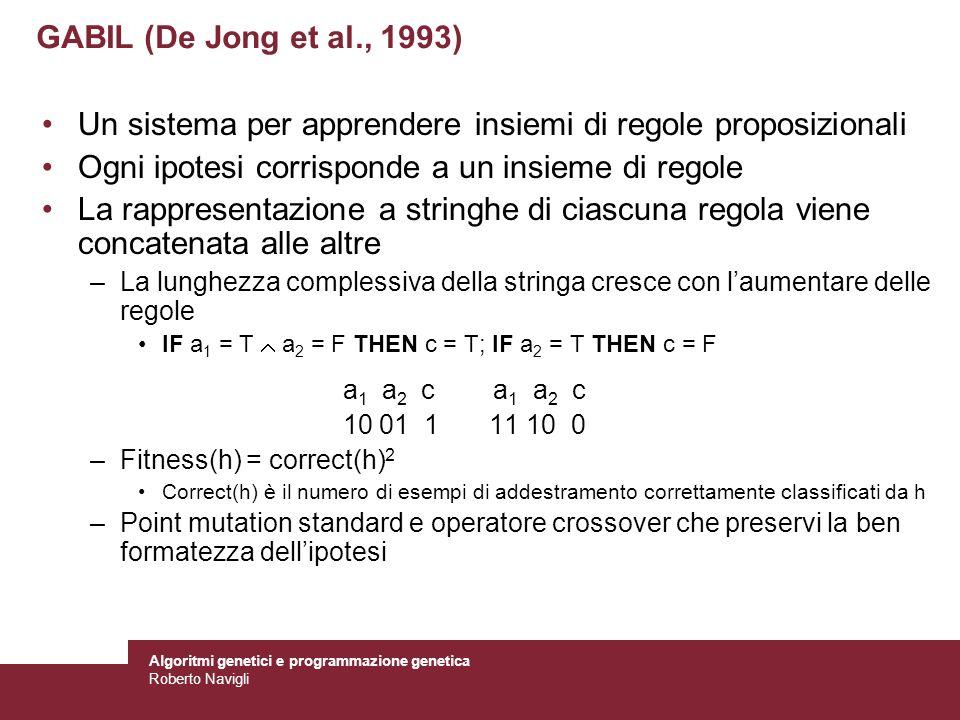 Algoritmi genetici e programmazione genetica Roberto Navigli GABIL (De Jong et al., 1993) Un sistema per apprendere insiemi di regole proposizionali O