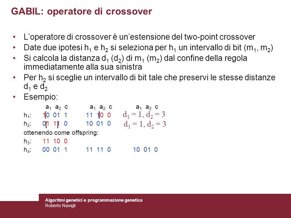 Algoritmi genetici e programmazione genetica Roberto Navigli GABIL: operatore di crossover Loperatore di crossover è unestensione del two-point crosso