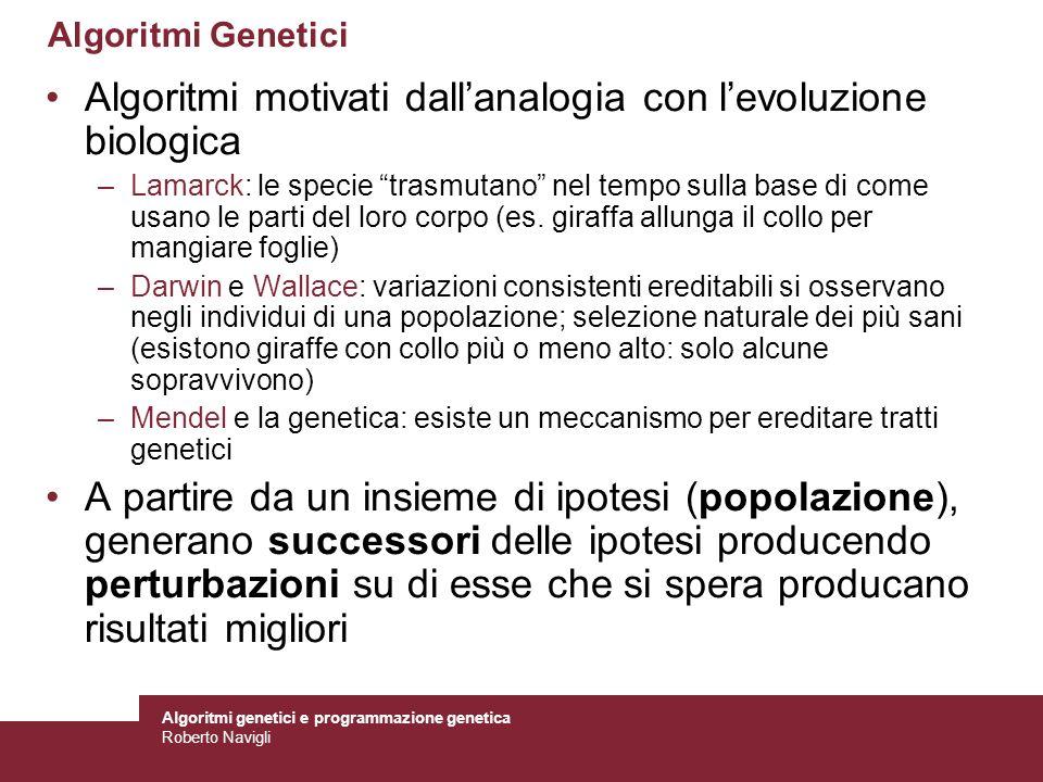Algoritmi genetici e programmazione genetica Roberto Navigli Ricerca nello spazio delle ipotesi Gli AG effettuano ricerche randomizzate sullo spazio delle ipotesi –Differente rispetto agli altri metodi di apprendimento (es.