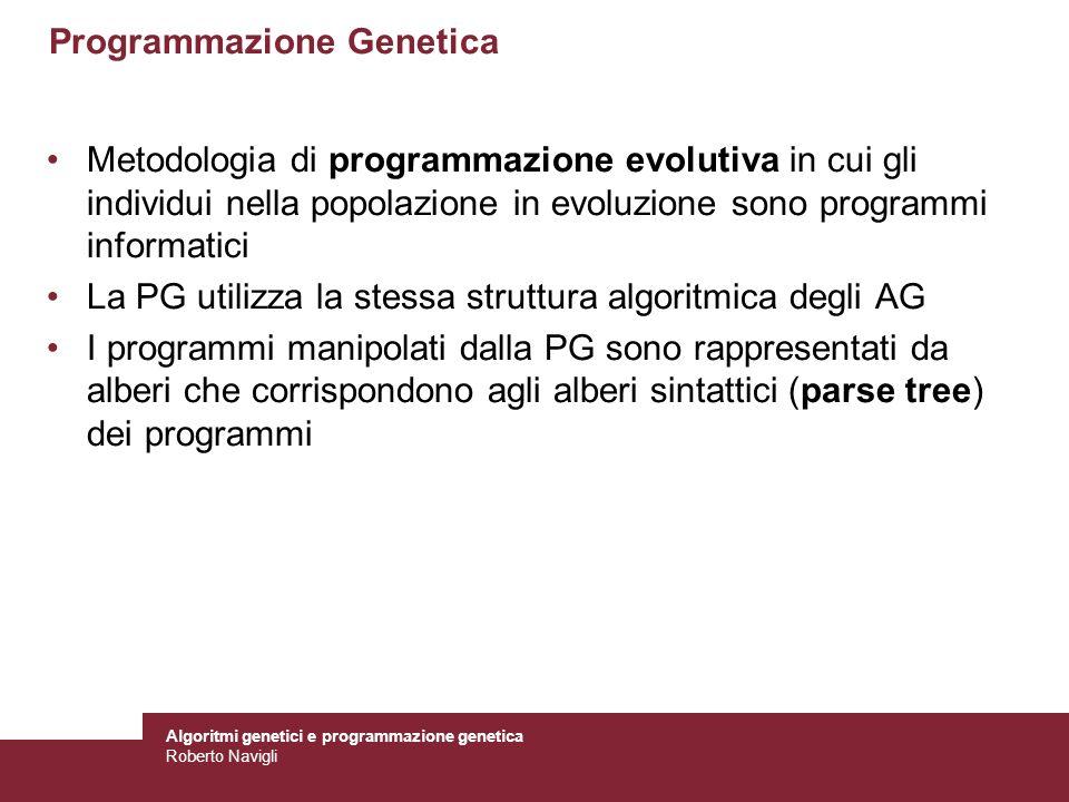 Algoritmi genetici e programmazione genetica Roberto Navigli Programmazione Genetica Metodologia di programmazione evolutiva in cui gli individui nell