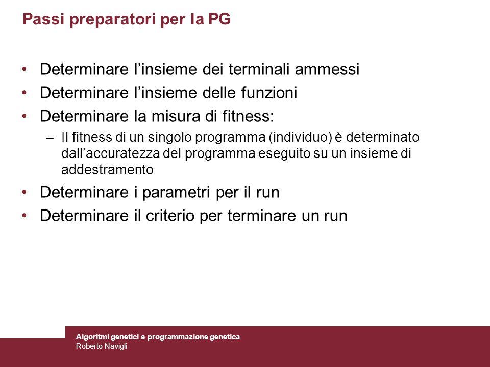 Algoritmi genetici e programmazione genetica Roberto Navigli Passi preparatori per la PG Determinare linsieme dei terminali ammessi Determinare linsie