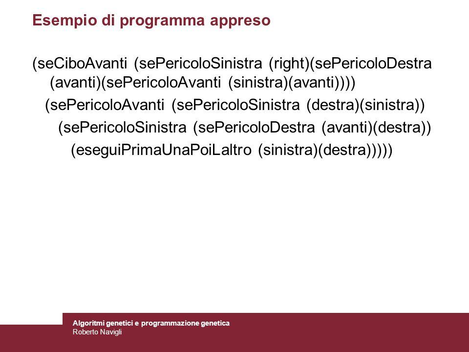 Algoritmi genetici e programmazione genetica Roberto Navigli Esempio di programma appreso (seCiboAvanti (sePericoloSinistra (right)(sePericoloDestra (