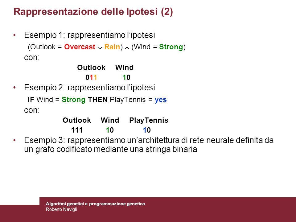 Algoritmi genetici e programmazione genetica Roberto Navigli Rappresentazione delle Ipotesi (2) Esempio 1: rappresentiamo lipotesi (Outlook = Overcast