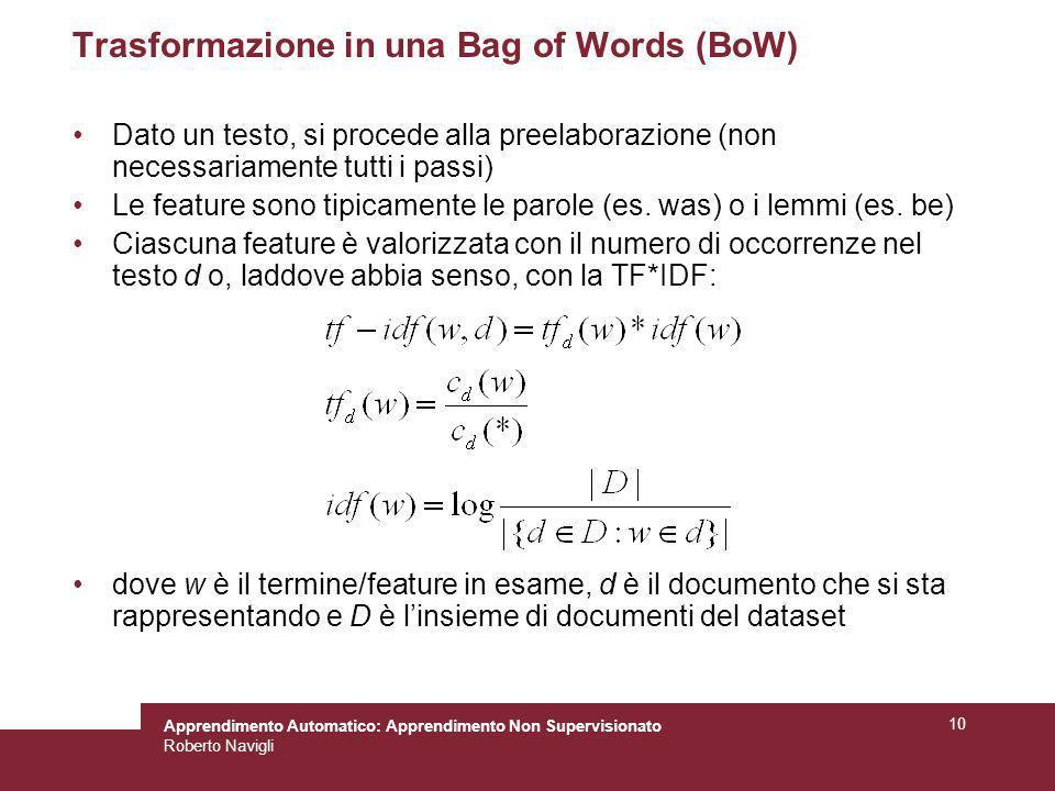 Apprendimento Automatico: Apprendimento Non Supervisionato Roberto Navigli 10 Trasformazione in una Bag of Words (BoW) Dato un testo, si procede alla