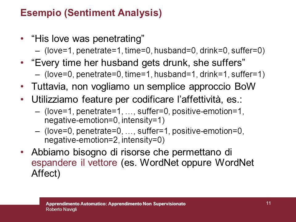 Apprendimento Automatico: Apprendimento Non Supervisionato Roberto Navigli 11 Esempio (Sentiment Analysis) His love was penetrating –(love=1, penetrat