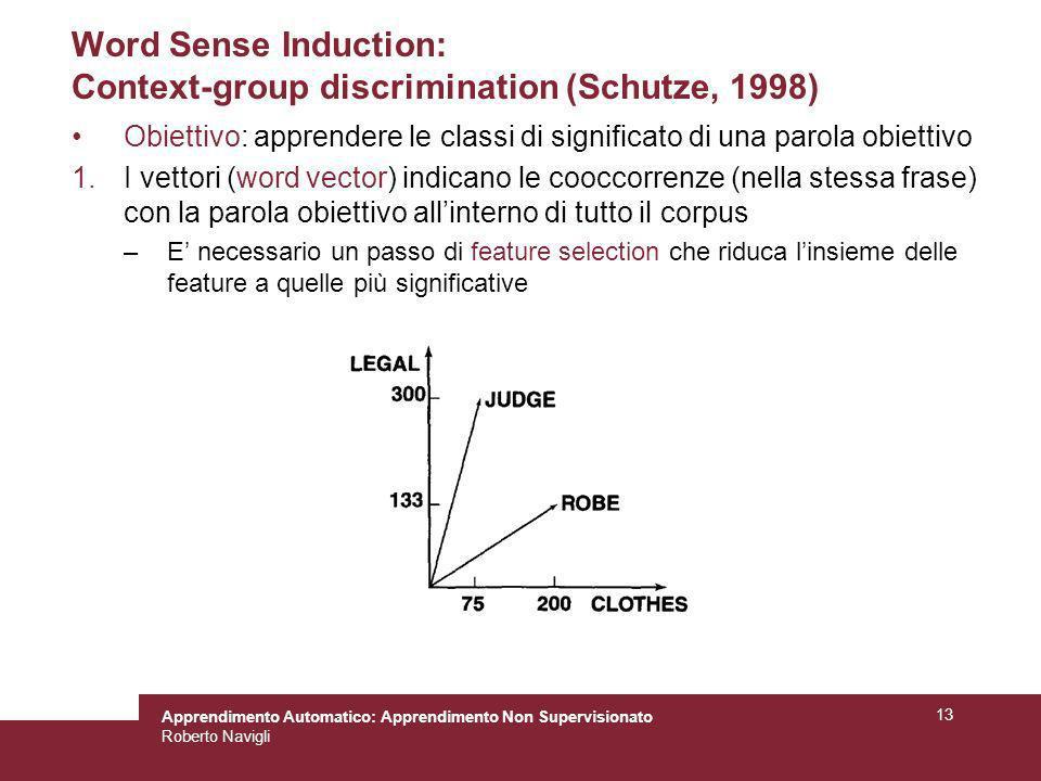 Apprendimento Automatico: Apprendimento Non Supervisionato Roberto Navigli 13 Word Sense Induction: Context-group discrimination (Schutze, 1998) Obiet