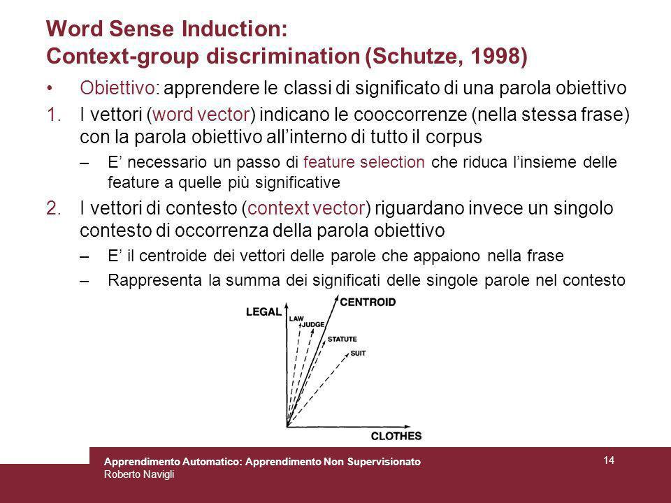 Apprendimento Automatico: Apprendimento Non Supervisionato Roberto Navigli 14 Word Sense Induction: Context-group discrimination (Schutze, 1998) Obiet