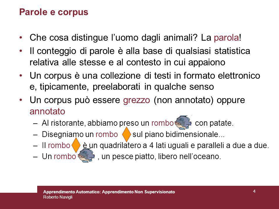 Apprendimento Automatico: Apprendimento Non Supervisionato Roberto Navigli 4 Parole e corpus Che cosa distingue luomo dagli animali? La parola! Il con