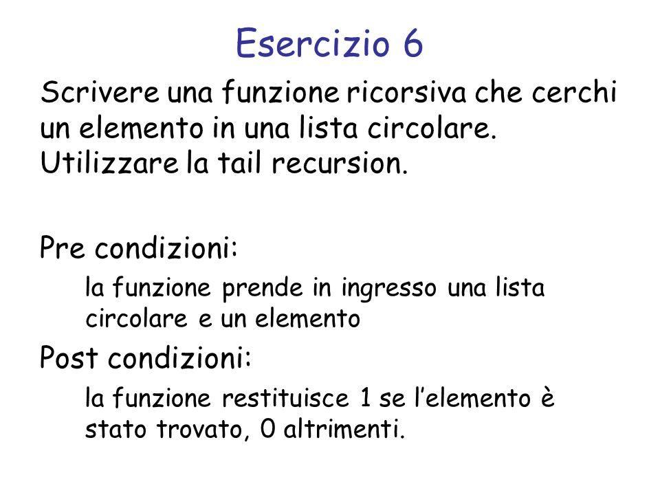 Esercizio 6 Scrivere una funzione ricorsiva che cerchi un elemento in una lista circolare. Utilizzare la tail recursion. Pre condizioni: la funzione p