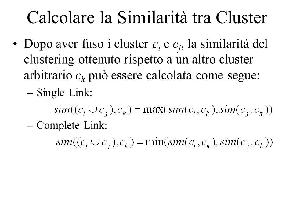 Calcolare la Similarità tra Cluster Dopo aver fuso i cluster c i e c j, la similarità del clustering ottenuto rispetto a un altro cluster arbitrario c