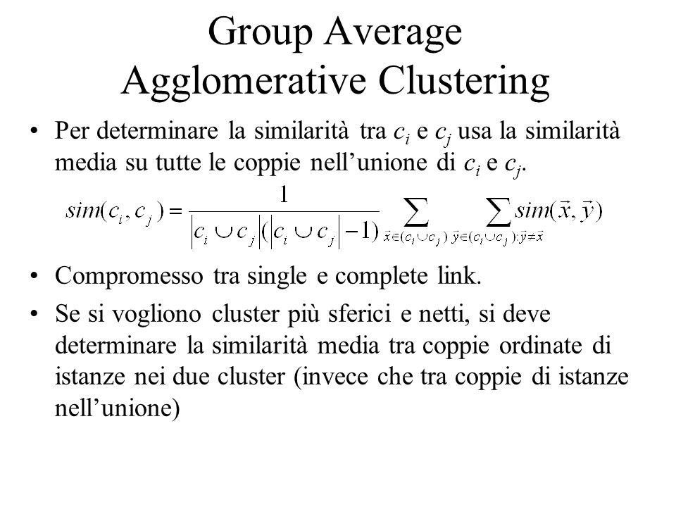 Group Average Agglomerative Clustering Per determinare la similarità tra c i e c j usa la similarità media su tutte le coppie nellunione di c i e c j.