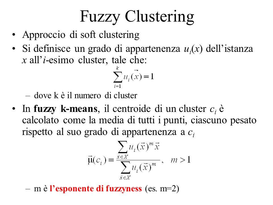 Fuzzy Clustering Approccio di soft clustering Si definisce un grado di appartenenza u i (x) dellistanza x alli-esimo cluster, tale che: –dove k è il n