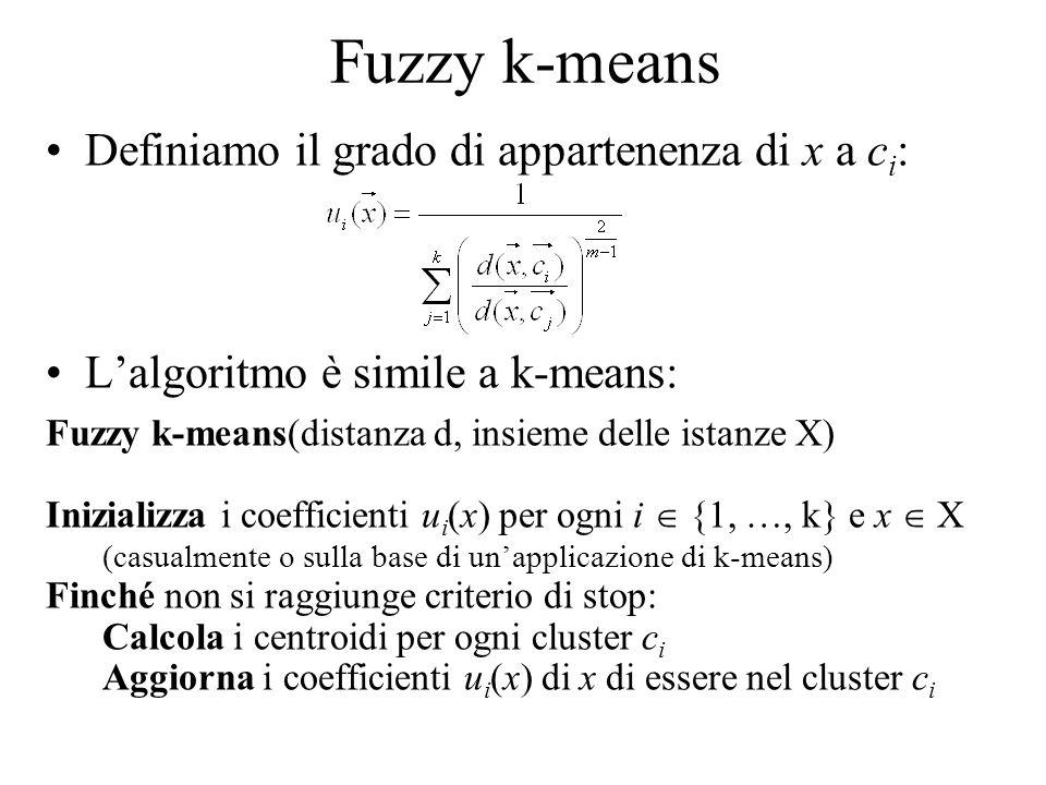 Fuzzy k-means Definiamo il grado di appartenenza di x a c i : Lalgoritmo è simile a k-means: Fuzzy k-means(distanza d, insieme delle istanze X) Inizia
