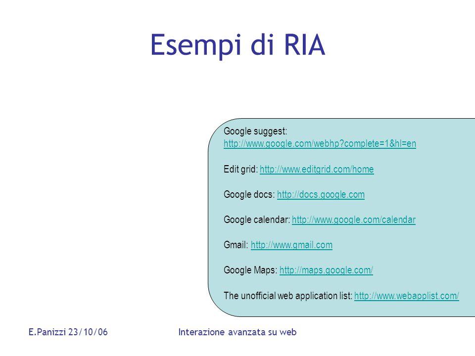 E.Panizzi 23/10/06Interazione avanzata su web Esempi di RIA Google suggest: http://www.google.com/webhp?complete=1&hl=en http://www.google.com/webhp?c