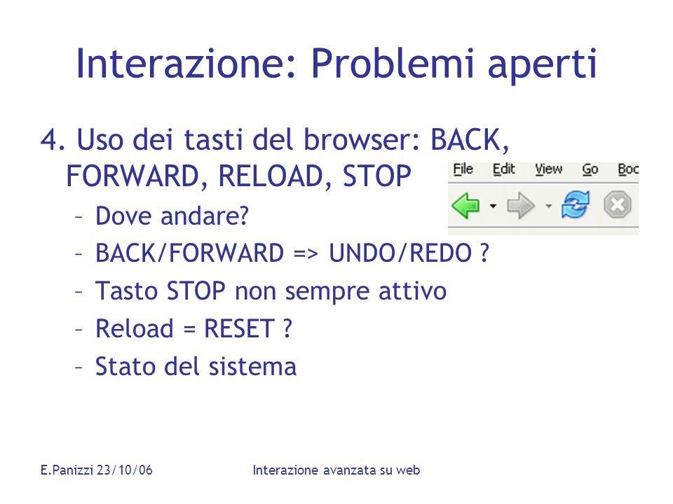 E.Panizzi 23/10/06Interazione avanzata su web Interazione: Problemi aperti 4. Uso dei tasti del browser: BACK, FORWARD, RELOAD, STOP –Dove andare? –BA