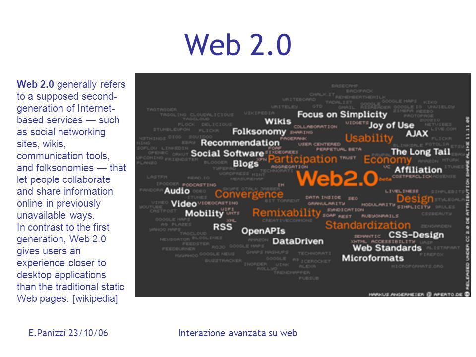 E.Panizzi 23/10/06Interazione avanzata su web Web 2.0 Web 2.0 generally refers to a supposed second- generation of Internet- based services such as so