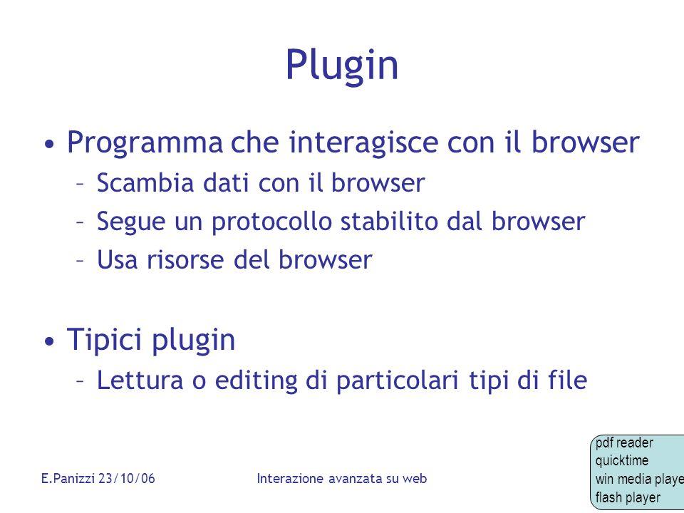 E.Panizzi 23/10/06Interazione avanzata su web Plugin Programma che interagisce con il browser –Scambia dati con il browser –Segue un protocollo stabil