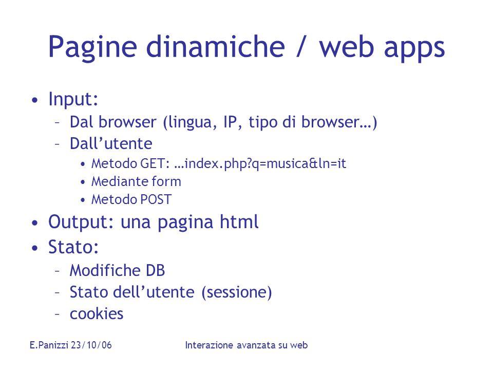 E.Panizzi 23/10/06Interazione avanzata su web Pagine dinamiche / web apps Input: –Dal browser (lingua, IP, tipo di browser…) –Dallutente Metodo GET: …